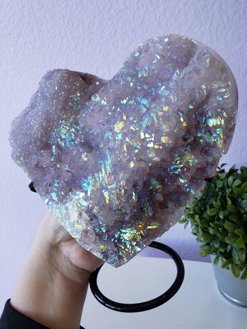 Angel Aura Amethyst Heart Display