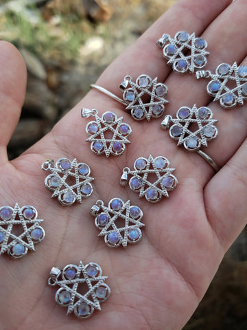 Rainbow Moonstone Pentacle Pendants
