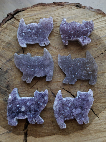 Amethyst Druzy Prancing Kitties