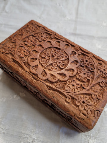 "Carved Wooden Jewelry Box ""Tree of Life"", 6.5"" x 3.6"""