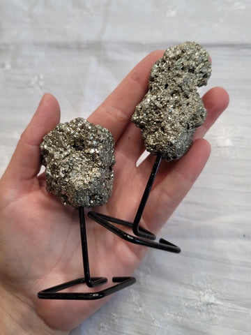 Pyrite Clusters on Metal Stand