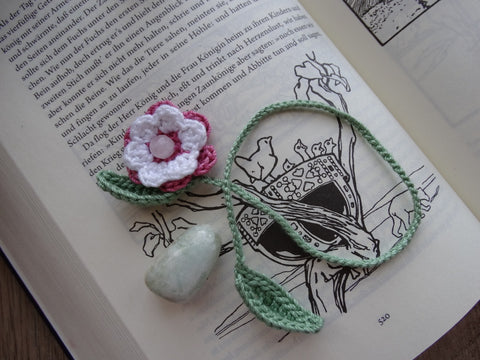 Crochet Flower Bookmarks ~ Pink w/ Rose Quartz Bead