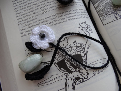 Crochet Flower Bookmarks ~ White w/ Tourmalinated Quartz Bead