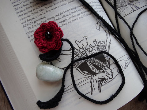 Crochet Flower Bookmarks ~ Red w/ Onyx Bead