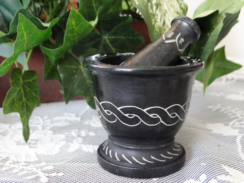 Carved Black Soapstone Mortar and Pestle