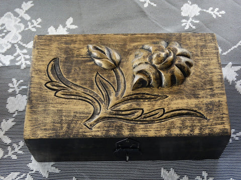 "Antique Finish Wooden Jewelry Box ""Golden Rose"", 5"" x 8"""