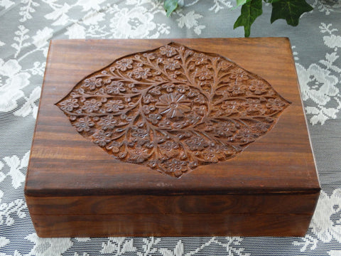 "Carved Wooden Jewelry Box ""Floral"", 8"" x 10"""