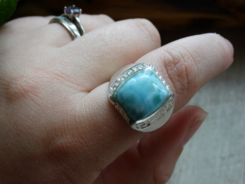 Size 11.5 - Larimar Sterling Silver Ring
