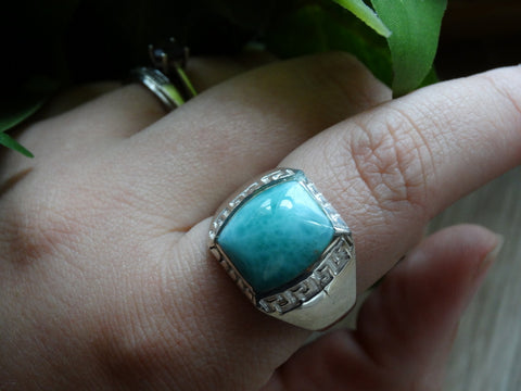 Size 12.5 - Larimar Sterling Silver Ring