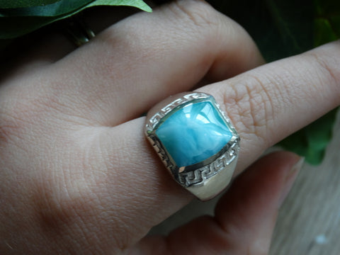 Size 13.75 - Larimar Sterling Silver Ring