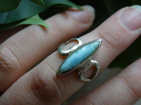 Size 7.5 - Larimar Sterling Silver Ring