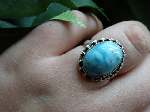 Size 9.5 - Larimar Sterling Silver Ring
