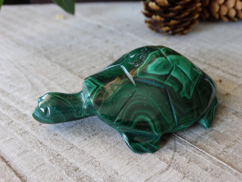"2.9"" Malachite Turtle Carving"