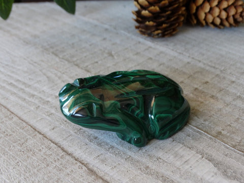 "2.3"" Malachite Frog Carving"