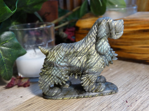 "3.2"" Labradorite Dog Carving"
