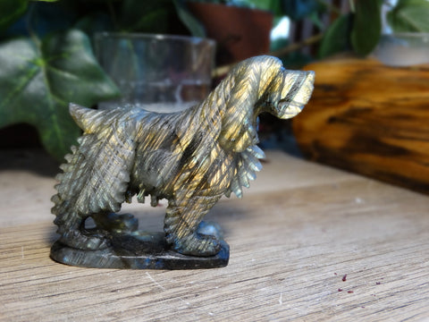 "2.6"" Labradorite Dog Carving"