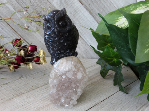 "5.3"" Agate Geode Owl Carving"