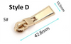 #5 Zipper Slider and Pull - Metal Teeth - Two Piece (Interchangeable)