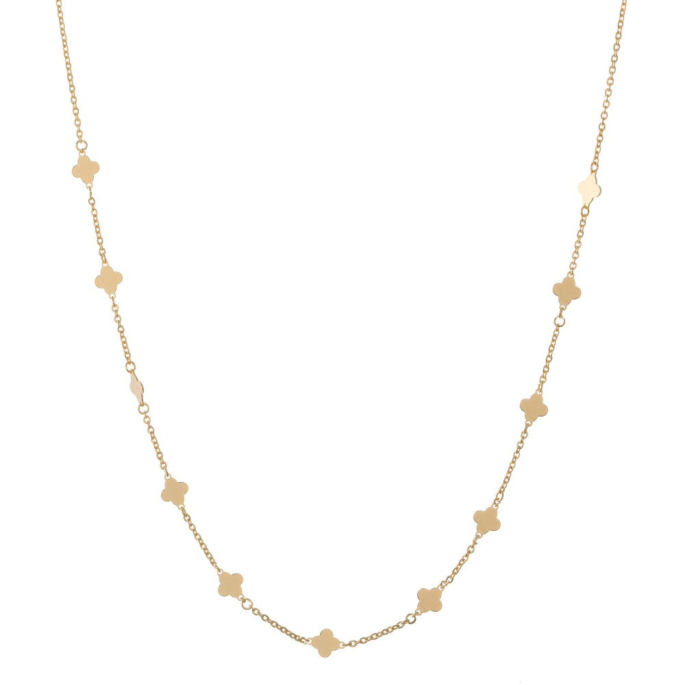 dainty gold layering necklace (quatrefoil)