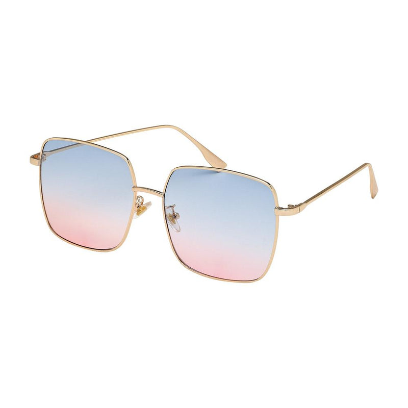blue to pink lens gold frame sunglasses