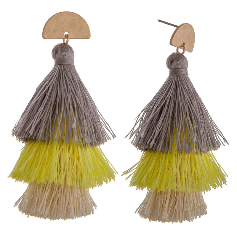 trio tassel earrings (grey) - Marcella