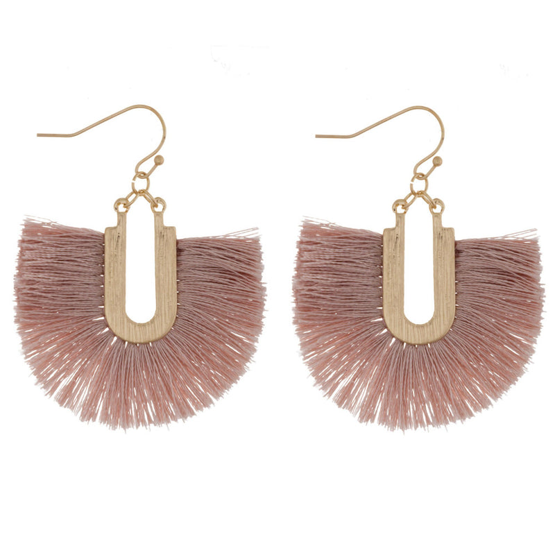 fan tassel earrings (mauve)