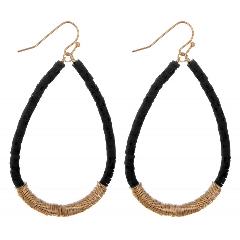 disc bead teardrop shaped earrings (black)