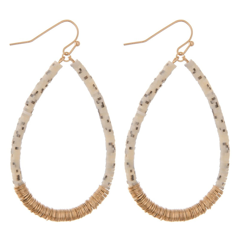 disc bead teardrop shaped earrings (white)