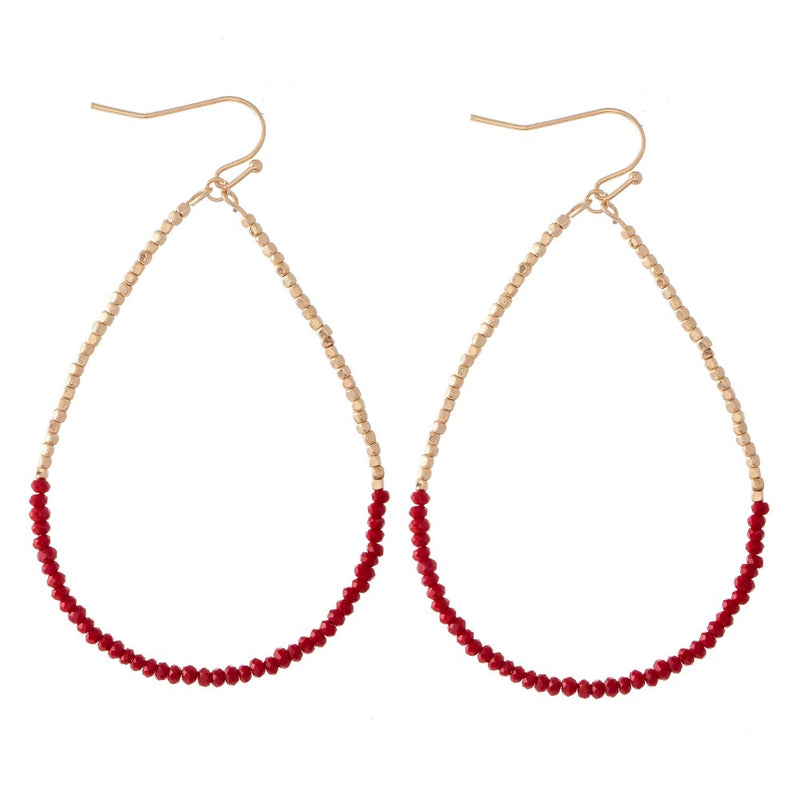 beaded tear drop earrings (red)