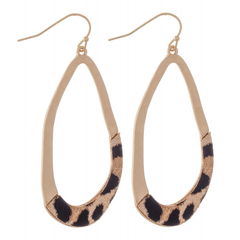 textured leopard and gold earrings