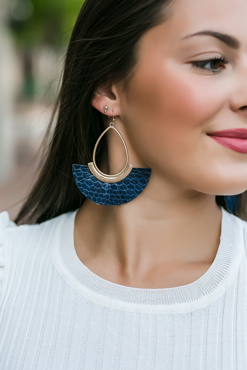 Tassel teardrop earrings (navy)
