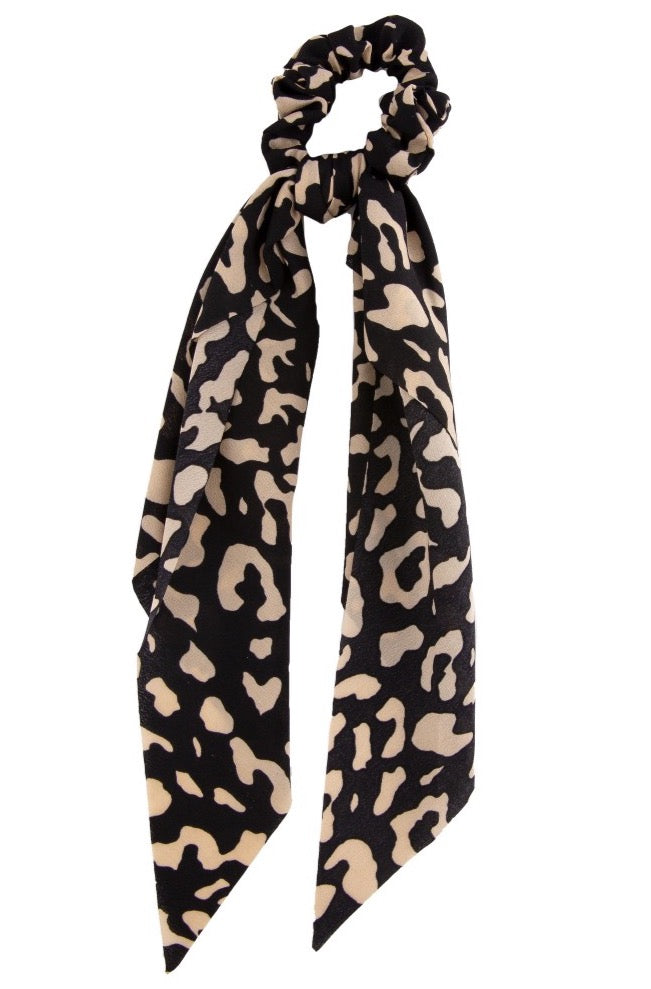 leopard print hair scarf (black)