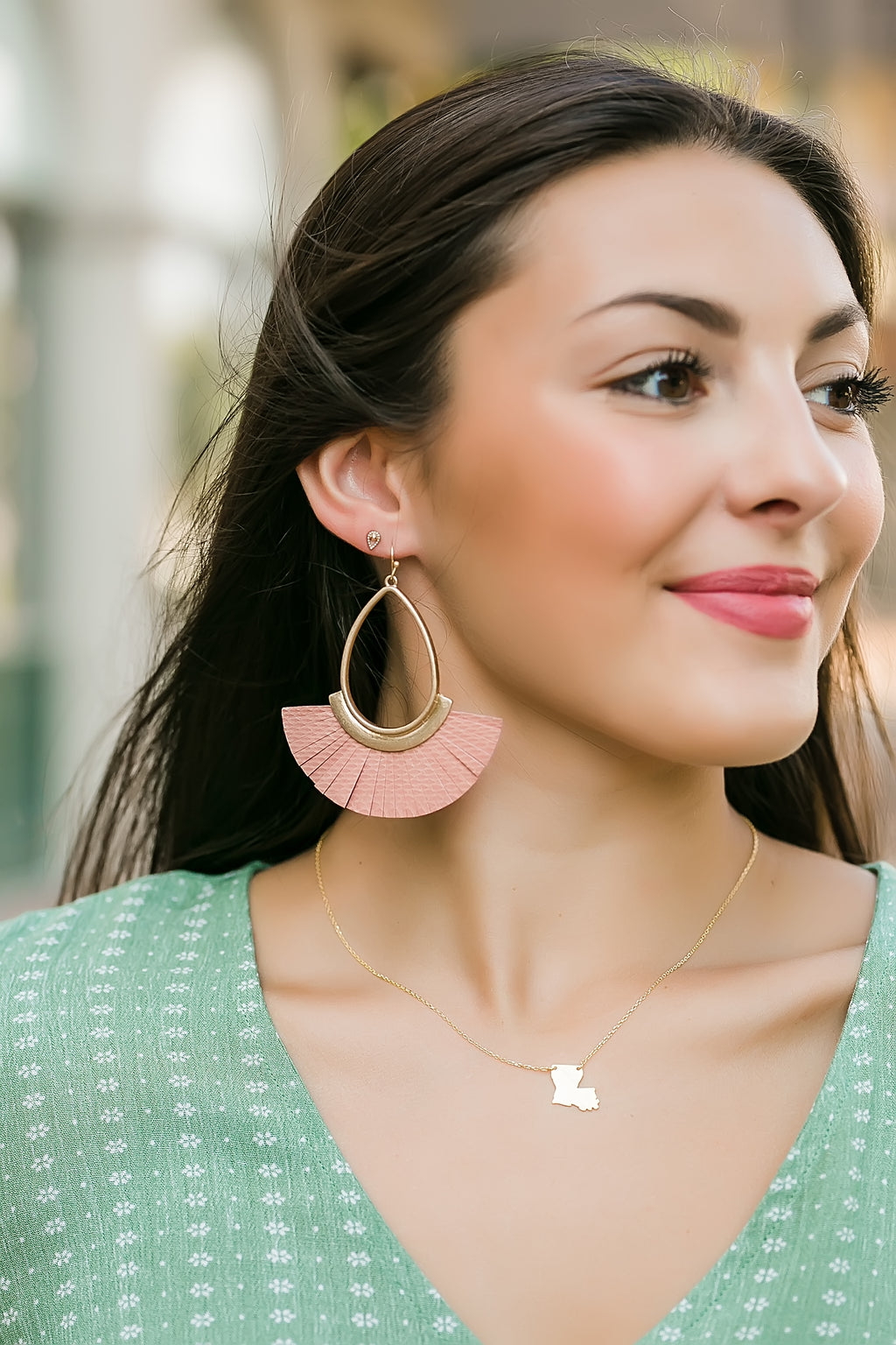 Tassel teardrop earrings (pink)