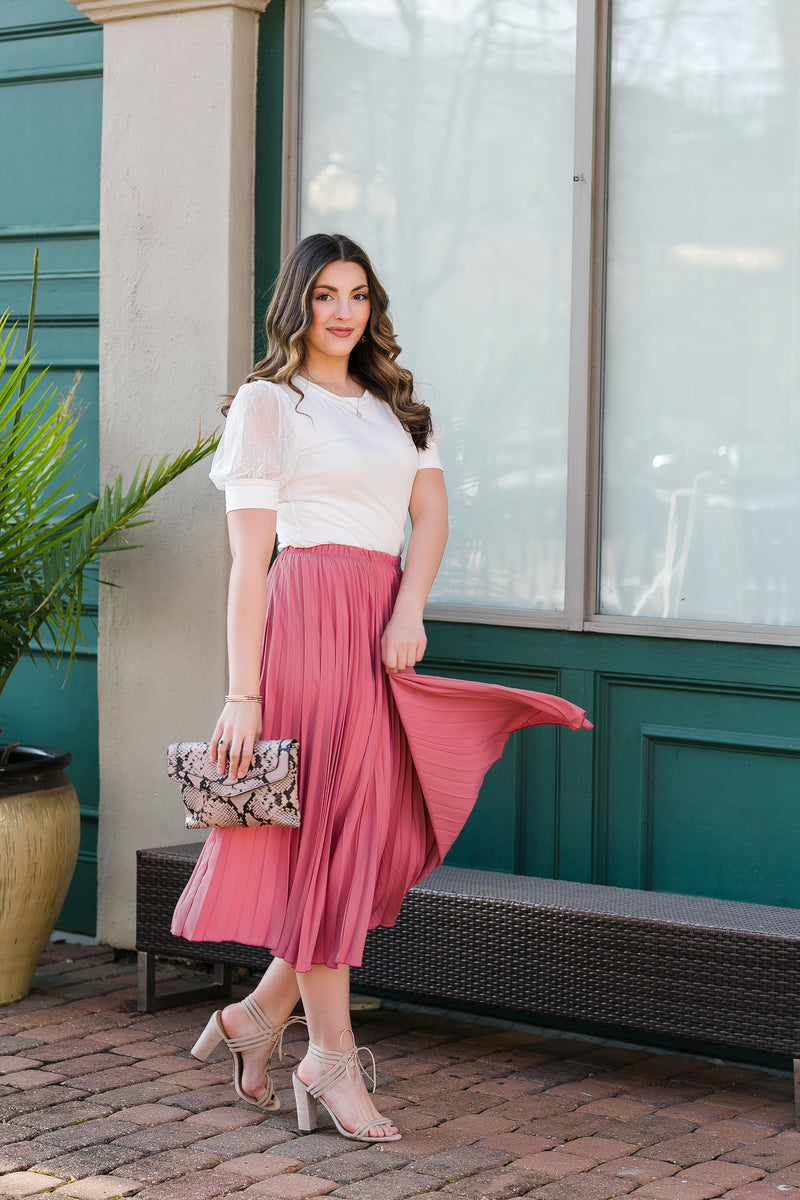 Mauve pleated midi skirt