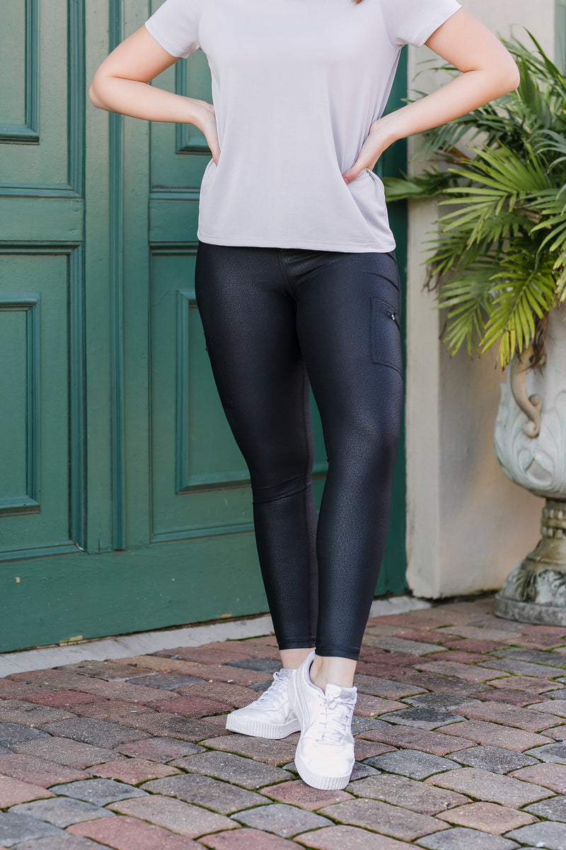 side hustle highwaist foil leggings