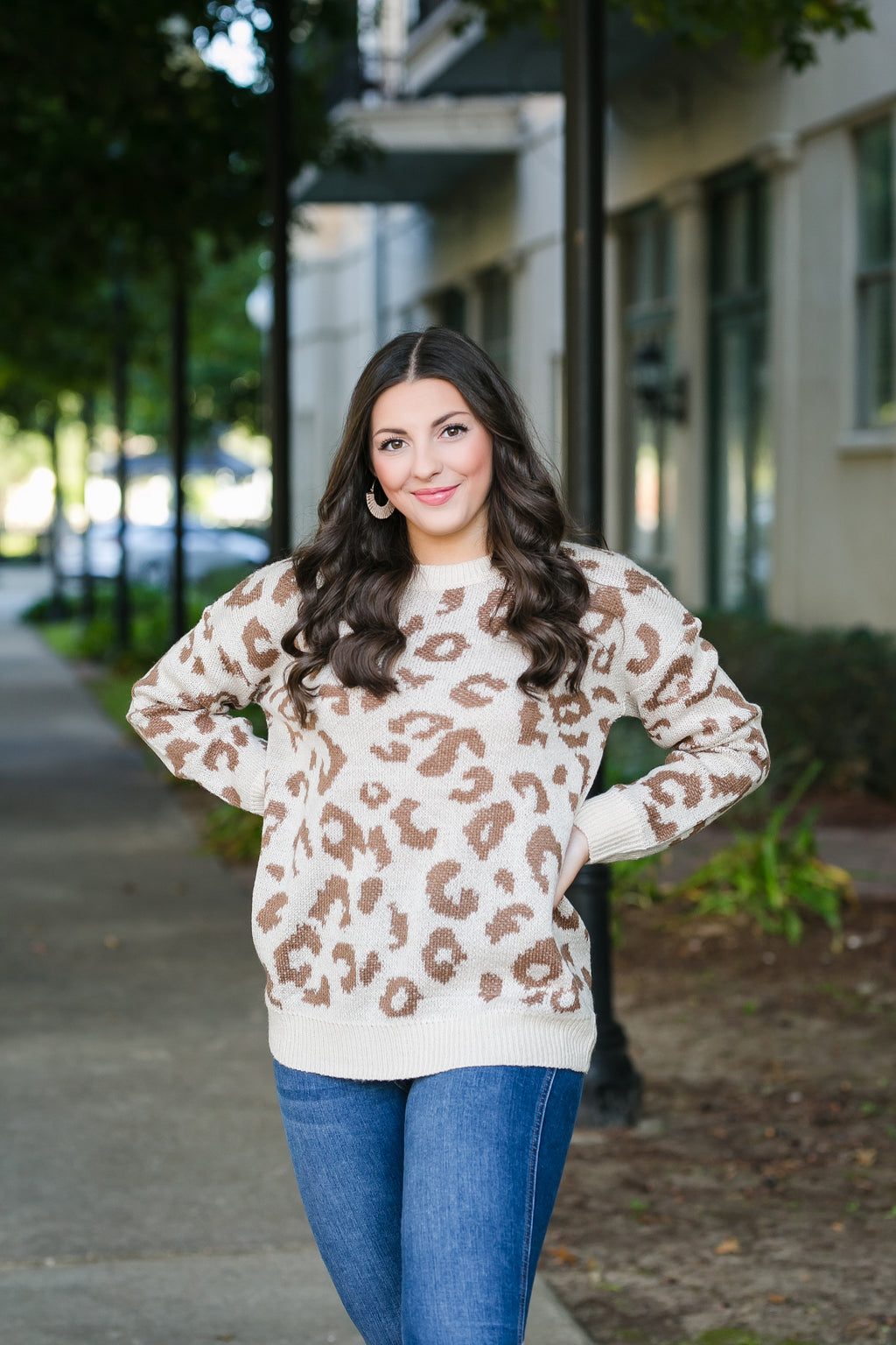 she's spot on leopard print sweater