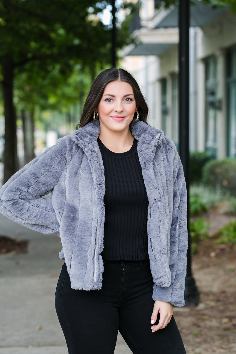 charcoal faux fur jacket