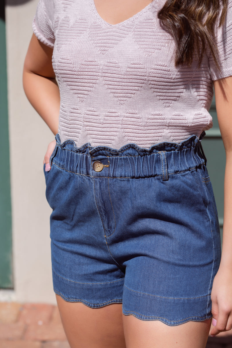 Easy breezy paper bag denim shorts