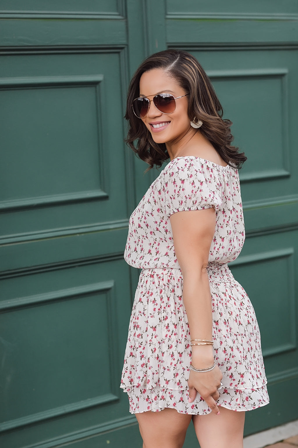 dainty blooms floral off shoulder top