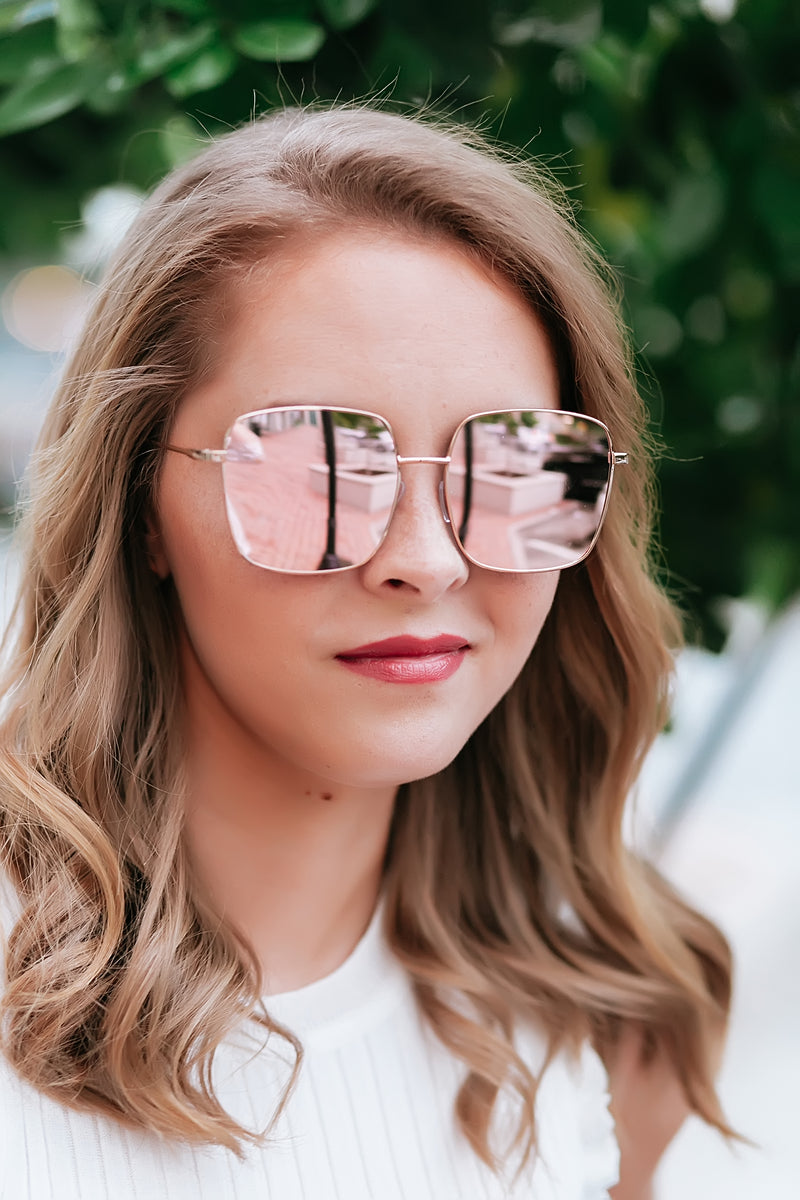 rose gold mirror lens sunglasses