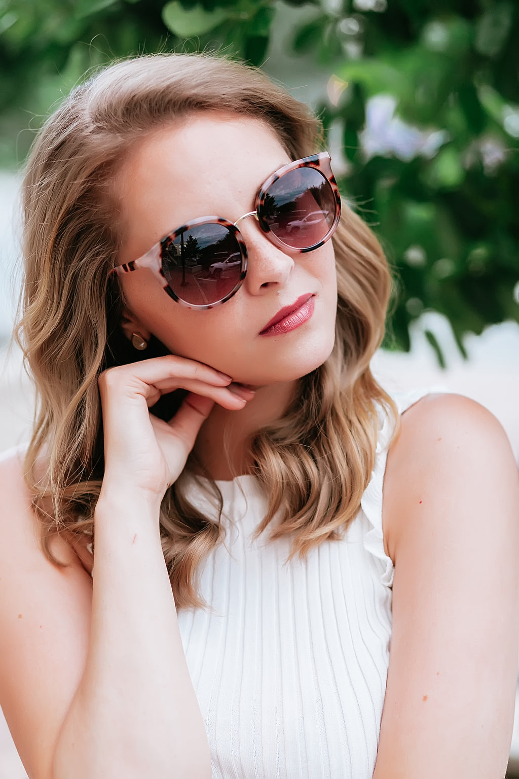 blush tortoise cat eye sunglasses