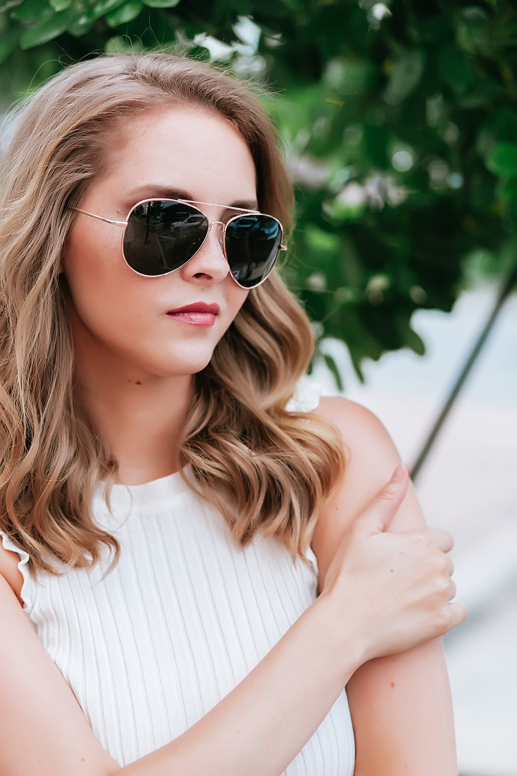 Rose Gold frame aviator sunglasses