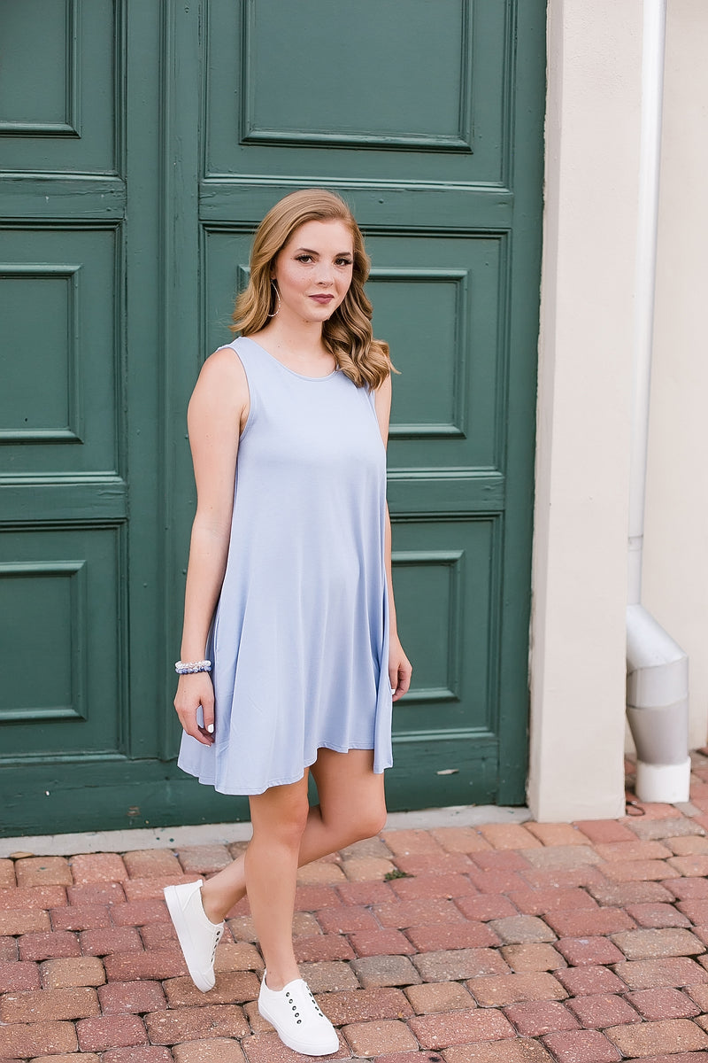 summertime sleeveless dress (dusty blue)