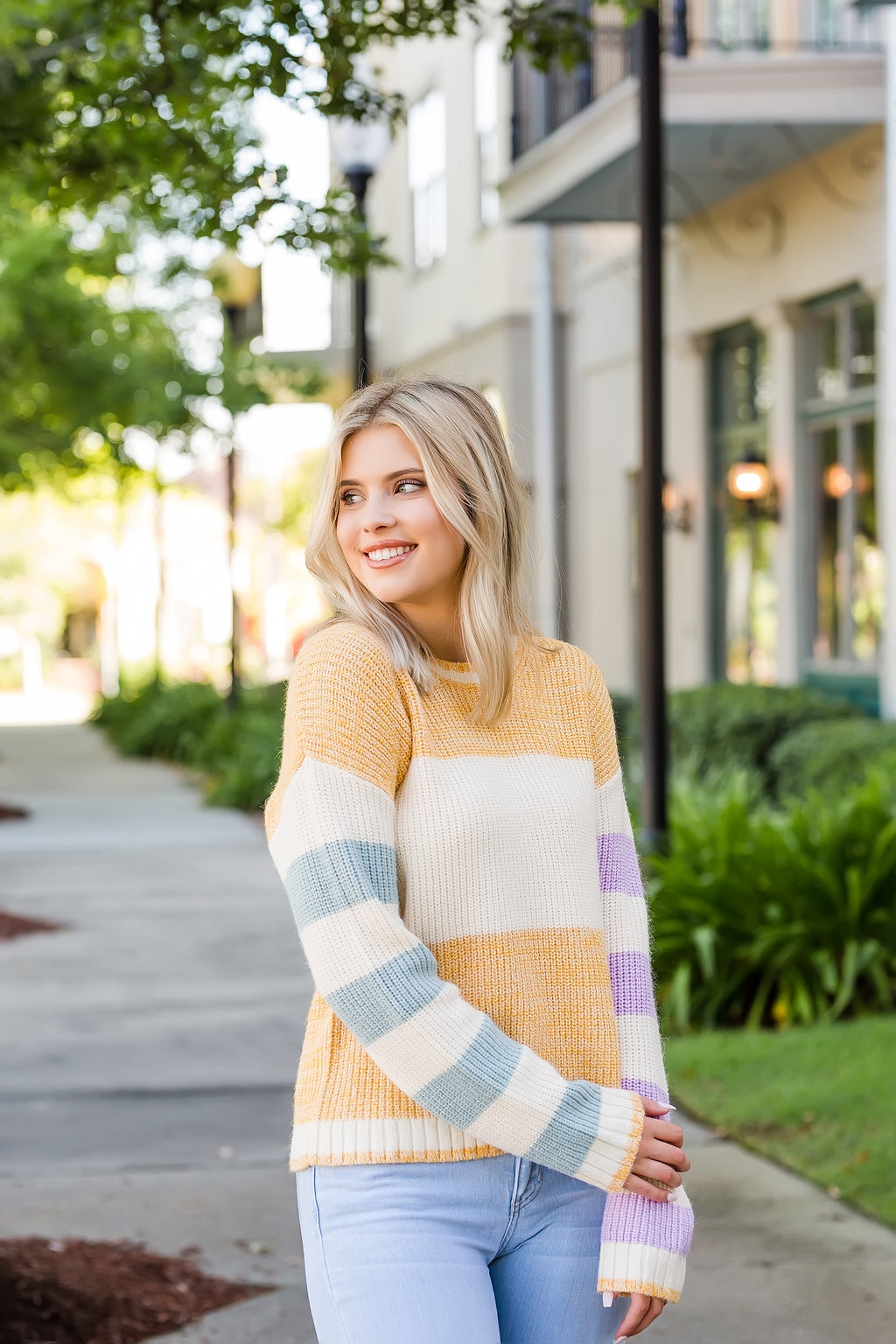 feelin good color block sweater