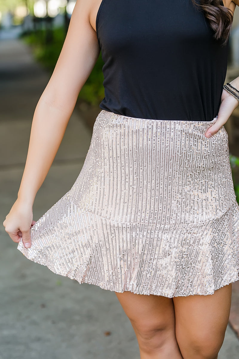 pop champagne sequin skirt
