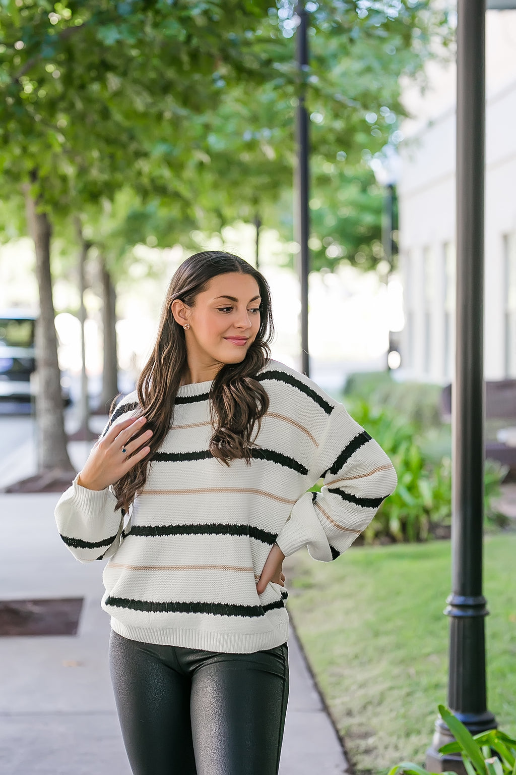 simply put ivory striped sweater