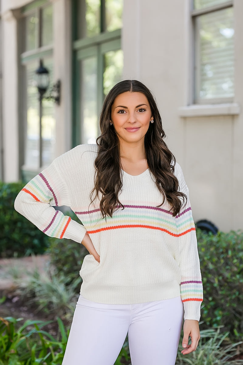 rainbows and sunshine striped sweater
