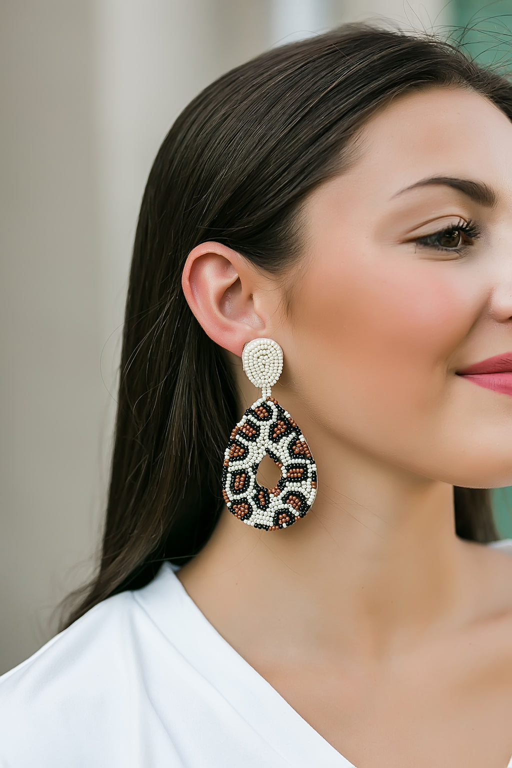 beaded leopard print earrings