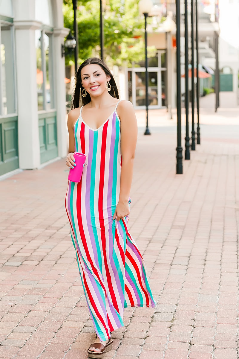 live in color striped maxi dress