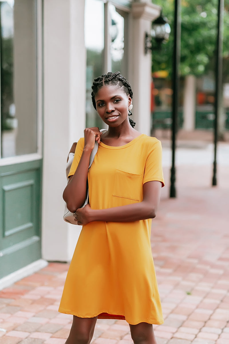 low key tshirt dress (mustard)
